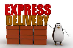 3d penguin present boxes and express delivery concept Royalty Free Stock Photos