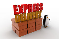 3d penguin present boxes and express delivery concept Royalty Free Stock Photo