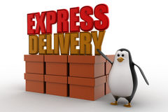 3d penguin present boxes and express delivery concept Stock Images