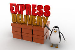 3d penguin present boxes and express delivery concept Royalty Free Stock Photography