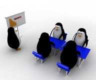 3d penguin present growth bar and doing meeting concept Royalty Free Stock Images