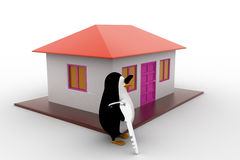 3d penguin present house for sell and holding key concept Royalty Free Stock Photography