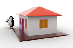 3d penguin present house for sell and holding key concept Stock Image