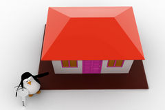 3d penguin present house for sell and holding key concept Stock Photography