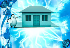 3d penguin present house for sell and holding key illustration Stock Photo