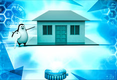 3d penguin present house for sell and holding key illustration Stock Photography