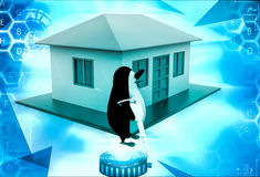 3d penguin present house for sell and holding key illustration Royalty Free Stock Photography
