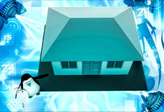 3d penguin present house for sell and holding key illustration Royalty Free Stock Photo
