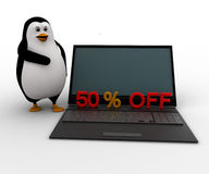 3d penguin present 50 off on laptop computer concept Royalty Free Stock Photos