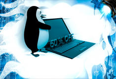 3d penguin present 50 off on laptop computer illustration Royalty Free Stock Photography