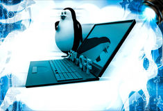 3d penguin present 50 off on laptop computer illustration Royalty Free Stock Photos
