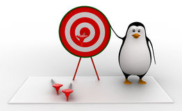 3d penguin present target board and dart to aim on it concept Stock Photography