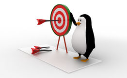 3d penguin present target board and dart to aim on it concept Stock Photo