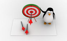 3d penguin present target board and dart to aim on it concept Stock Image