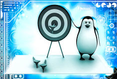 3d penguin present target board and dart to aim on it illustration Stock Photography
