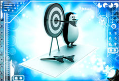 3d penguin present target board and dart to aim on it illustration Stock Image