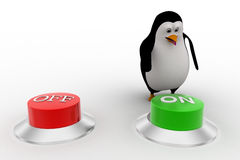 3d penguin press green on button from two red and green buttons concept Royalty Free Stock Image