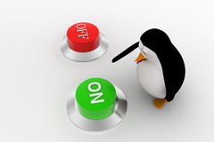 3d penguin press green on button from two red and green buttons concept Stock Photo