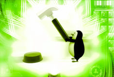 3d penguin press red button with hammer illustration Royalty Free Stock Images