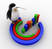 3d penguin with progress charts concept Royalty Free Stock Photos