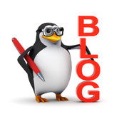 3d Penguin is proud of his blog Stock Photo
