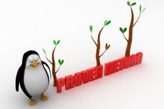 3d penguin with proven illustration Royalty Free Stock Image