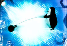 3d penguin pull weight illustrations Royalty Free Stock Image