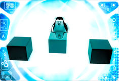 3d penguin pushin red cube to middle of rest of cubes illustration Stock Photo