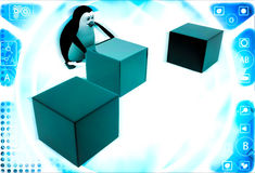 3d penguin pushin red cube to middle of rest of cubes illustration Stock Image