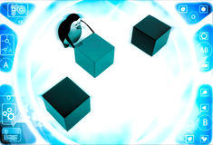 3d penguin pushin red cube to middle of rest of cubes illustration Stock Photos