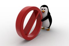 3d penguin pushing no entry symbol concept Royalty Free Stock Photography
