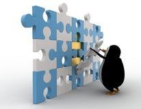 3d penguin put last piece of puzzle concept Royalty Free Stock Photos