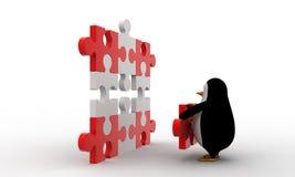 3d penguin put last piece of puzzle on puzzle concept Stock Photography