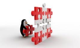 3d penguin put last piece of puzzle on puzzle concept Royalty Free Stock Photos
