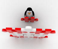 3d penguin put last piece of puzzle on puzzle concept Royalty Free Stock Photography