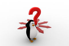 3d penguin with question and arrow in all direction concept Royalty Free Stock Images