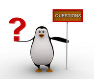 3d penguin with question mark in hand and sign board concept Stock Photography