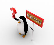 3d penguin with question mark in hand and sign board concept Royalty Free Stock Photo