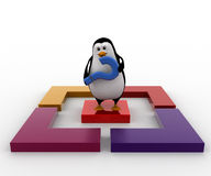 3d penguin with question mark and square box concept Royalty Free Stock Images