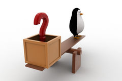 3d penguin with question mark and standing on seesaw for balance concept Royalty Free Stock Photos