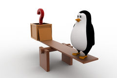 3d penguin with question mark and standing on seesaw for balance concept Stock Photography