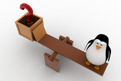 3d penguin with question mark and standing on seesaw for balance concept Royalty Free Stock Photography