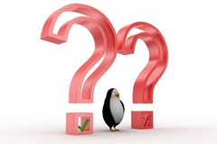 3d penguin with question marks Royalty Free Stock Images