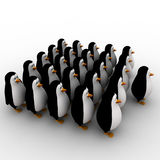 3d penguin in queue concept Royalty Free Stock Image