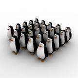 3d penguin in queue concept Stock Photography