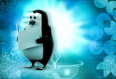 3d penguin read book concept Royalty Free Stock Photos