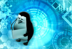 3d penguin read book concept Royalty Free Stock Image
