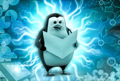 3d penguin read file concept Stock Photography