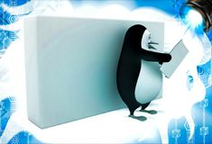3d penguin read news paper leaning on wall illustation Royalty Free Stock Photos