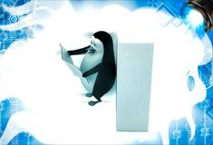3d penguin read news paper leaning on wall illustation Stock Photography